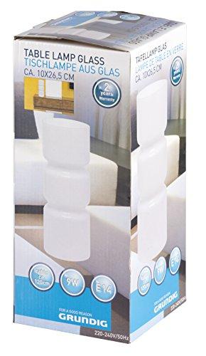 Grundig 871125254117, lampe de table en verre (env. 10 x 26,5 cm), verre blanc, 10 x 10 x 26,5 cm