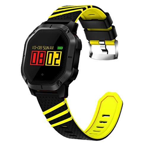 IPOTCH Rastreador de Ejercicios, Bluetooth Smart Sports Hombres Y Mujeres Reloj de Espera Largo con Frecuencia Cardíaca Impermeable (Elija Colores) - Negro + Amarillo