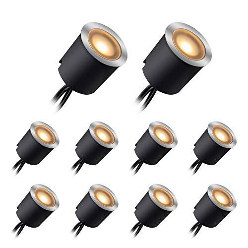LED Bodeneinbaustrahler mit Schwarzer Schutzhülle, LED Terrassenbeleuchtung Bodeneinbaustrahler Deckenstrahler IP67 DC12V für Küche Garten Treppen Balkon Terrasse(warm weiß,10er Set, Ø30mm/24mm)