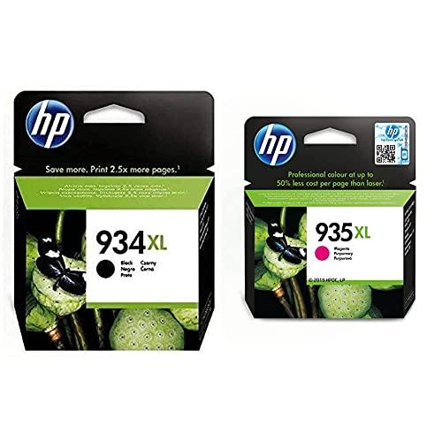 HP C2P23AE 934 Cartucho de Tinta Original de Alto Rendimiento + 935XL C2P25AE, Magenta, Cartucho de Tinta de Alta Capacidad Original, Compatible con impresoras de inyección de Tinta
