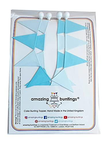 amazing buntings, Kuchendekoration, Wimpelgirlanden-Tortenaufleger für Kuchen & Torten, Vollständig Zusammengebaut, Blau Pastell, 2er-Set