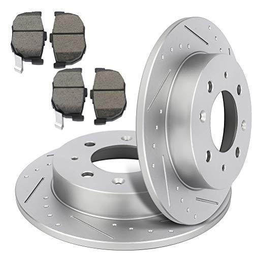 TUPARTS Rotores ranurados traseros y pastillas de freno de cerámica para Kia Spectra 2004-2009,…