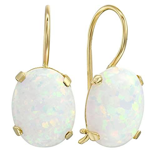 White Opal Drop Earrings - Dainty 14K Solid Yellow Gold Earrings, 6x8mm Gemstone Dangle Bridal Earrings with October Birthstone, Elliptic Oval Gemstone - Fine Handmade Jewelry for Brides & Weddings