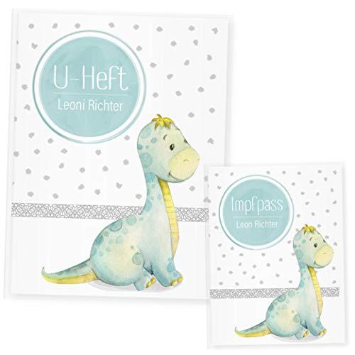 U Heft Hülle Dino Uhefthülle & Impfpass Hülle Set, (Uheft Set personalisiert, Dinosaurier 3)