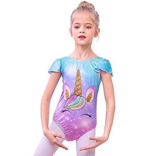 Basumee Mädchen Einhorn Turnanzug für Gymnastik Einteilig Unitard Gymnastikanzug für Tanz Ballett Sport (Jahre 2-8)