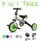 KORIMEFA 3 en 1 Vélo Draisienne Tricycle Évolutif pour Enfants 1-3 Ans Premier Vélo pour Bébés Filles Garçons Selle et Guidon Réglable (Vert + Gris)