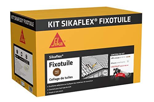 Kit Sikaflex Fixotuile Terre Cuite, Mastic polyuréthane PU spécial tuiles, mastic-colle souple pour la réparation et le collage de tuiles, 24 poches de 400ml + un pistolet d'application