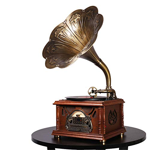 Idealforce Bluetooth Phonograph Record Player,Portable Version Gramophone Vintage Retro Style Subwoofer Speakerw/Aux-in,CD,FM/AM Radio,45 RPM Adaptor, for HX-411/12/NF-601/605/610 (Horn with Texture)