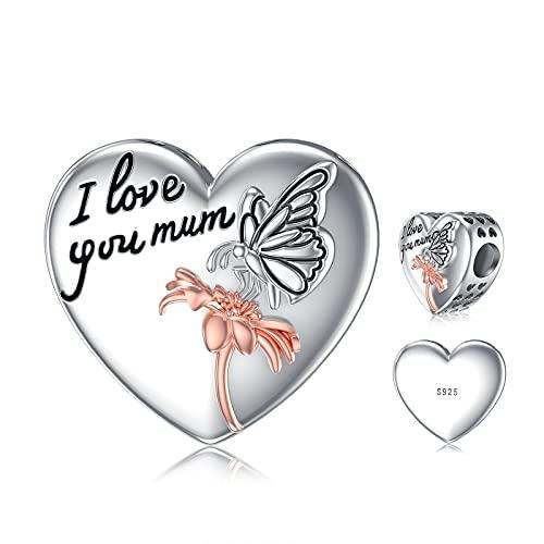 ROMANTICWORK Abalorio con forma de corazón para pulseras, collar de plata de ley 925, diseño de corazón y mariposa, regalo de cumpleaños para mujeres y niñas