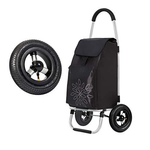 ZAQXSW Tragbarer Kleiner Wagen-Wagen-Wagen-Einkaufswagen-faltender Aluminiumlegierungs-Handgepäckanhänger-Lastträger hoher Haltbarkeits-Reifen kann aufgeblasen (Color : Black)