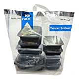 Reli. Tamper Evident to Go Bags (100 Pcs)(Large 21'L x9'W x16.25'H) Clear Plastic Bags w/Handles, Reusable to Go Bag/Carry Out Bags for Take Out, Delivery, Restaurant | Adhesive Seal, Tamper Proof