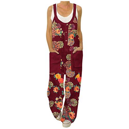 shorts Blumen Jumpsuit Damen Sommer Boho Overall Retro Baumwolle Baggy Latzhose, ärmellos Große Größe Sommerhose Taschen Hosenanzug Playsuit Harem Hose S-5Xl