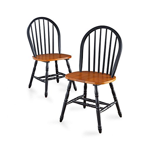 BHG Autumn Lane Windsor Solid Wood Dining Chairs (Black and Oak)