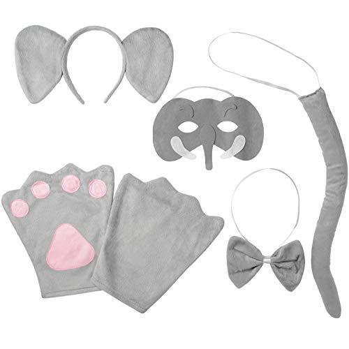 dressforfun 302035 - Kostüm Set Elefant für Kinder, Haarreif mit Ohren, Maske, Handschuhe, Fliege und Schwanz