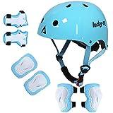 Lucky Kids Juego de equipo de protección para niños y niñas, tamaño ajustable, con rodilleras, coderas, muñequeras para monopatín, ciclismo, patinete, patinete, patinaje, patinaje