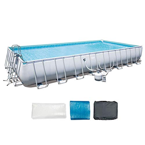 Bestway 18' x 9' x 4' Power Steel Frame Above Ground Rectangular Swimming Pool Set with 1000 GPH Sand Filter Pump, Pool Cover, Ladder, and Ground Cloth