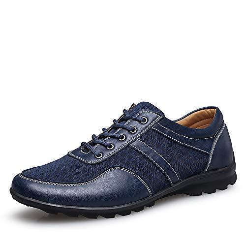COOJOY Zapatos de Vestir para Hombre Casuales Lace-up Mocasines Plano Mesh Loafers Zapatillas de Conducción