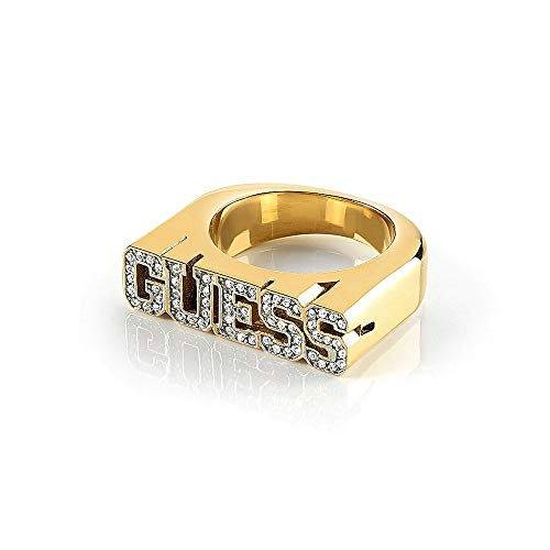 Guess Ring Stainless Steel Ubr20019 College 1981 Gold Plated Swarovski Crystal Letters Logo
