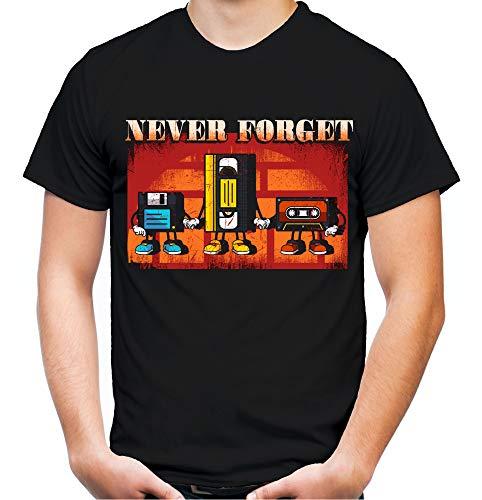 Never Forget Männer und Herren T-Shirt | Kasette Nerd VHS Film Diskette (4XL, Schwarz)