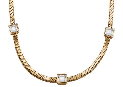 ESPRIT Damen Halskette Edelstahl rhodiniert Kristall Glaskristall Conjunction Gold 42 cm weiß ESNL11574B420