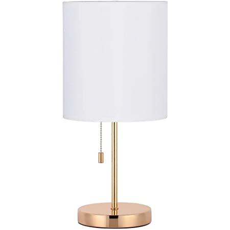 HAITRAL Nightstand Table Lamp - Bedside Lamp, Modern Desk Lamp for Bedroom, Office, College Dorm with Metal Base Fabric Lamp Shade - Gold