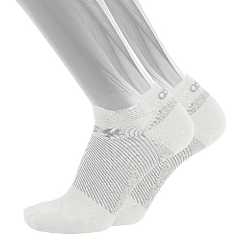OS1st FS4 Plantar Fasciitis Socks for Plantar Fasciitis Relief, Arch Support & Foot Health in 4 Styles (No Show, White, Medium)