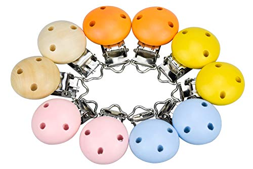 Demason 10 Piezas Pinza Madera de Chupete, Clip Chupetero para Bebés Niños Niñas, de Madera y Metal, Pinza Chupete de Redondo Diseño con 3 Agujeros