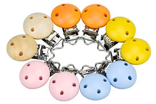 Demason Mehrfarbig Schnuller Clip, 10 Stücke Schnullerclips Holzclip Schnuller Halter Baby Nuckelclip Schnullerketten Kettenclip für Mädchen Jungs Kind (44 mm)