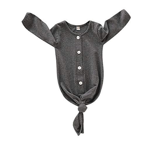 Moo RUNI Neugeborenen Langarm Nachtwäsche Infant Boy gestreiften Schlafsack Baby Nachthemd (Grau, 0-12Monate)