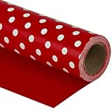 WRAPAHOLIC Reversible Wrapping Paper - Red and Polka Dot Design for Birthday, Holiday, Wedding, Baby...