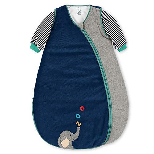 Sterntaler Schlafsack Kuschelzoo für Kleinkinder, Abnehmbare Ärmel, Wärmeregulierung, Reißverschluss, Größe: 90, Blau/Grau