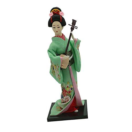 F Fityle Muñecas Japonesas Geisha Kimono Damas Muñeca Escritorio Adornos Decoración del Hogar - Verde