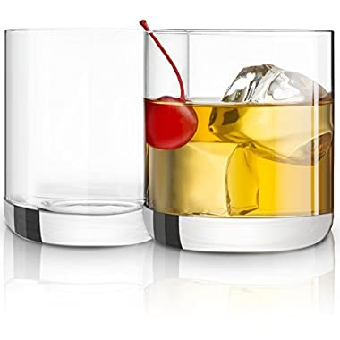 JoyJolt Nova Non-leaded Crystal Old Fashioned Whiskey Glasses, Excellent For Cocktail Bourbon Rocks Tumbler Glass 10 Ounce Bar Glassware Set of 2
