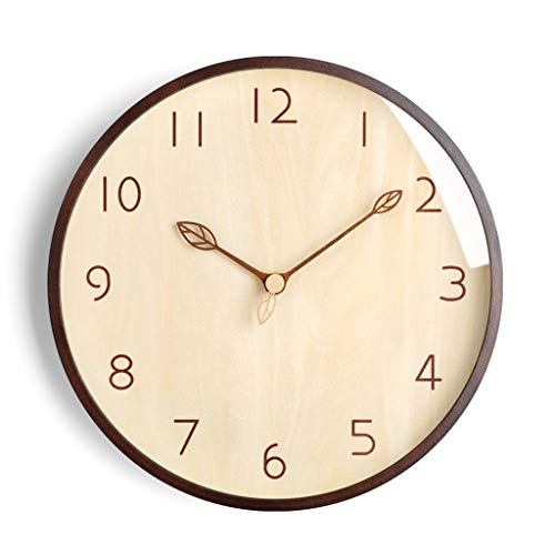 YULAN Gráficos Reloj de Pared Creativo de Pared Sala de Estar Inicio IKEA Relojes Simple Reloj del Arte de la Personalidad de Madera Maciza Silencio (Color : Brown, Size : 14 Inches)