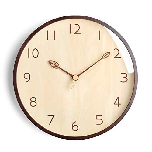 Wandklokken Wall Clock Modern Creative wandplaten Living Room Startpagina IKEA Klokken Simple Art Clock Planken Mute Personality (Color : Brown, Size : 14 inches)