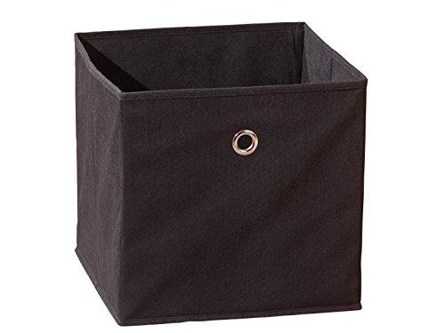 Inter Link Faltkiste Faltbox Faltbare Aufbewahrungsbox mit Metallöse aus Stoff in Schwarz