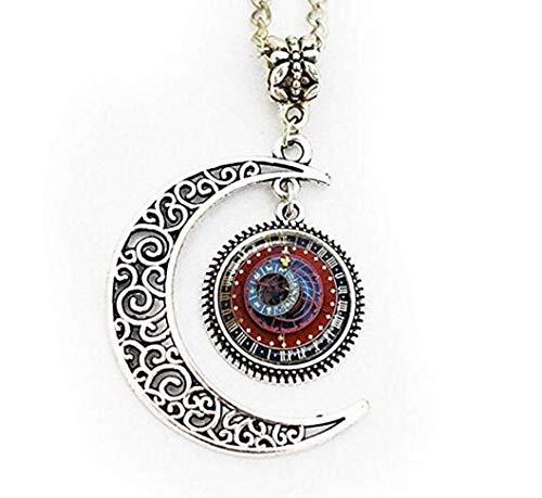 Astronomische Steampunk-Uhr Anhänger Vollmond Halskette Burgunderrot Blau Gold Sternzeichen Uhr Astrologische Uhr Astronomie Anhänger