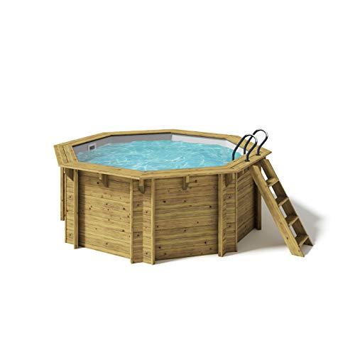 Paradies Pool® Holzpool Kalea Premium Komplettset inkl. Filteranlage für 50er Verrohrung, Scheinwerfer LED RGB, Folie grau mit 0,8mm Stärke, Achteck-Pool, 354 x 118 (Ø x H), Menge: 1 Stück
