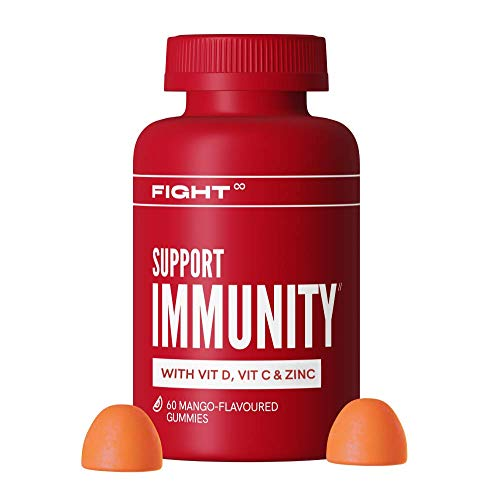 Vitamin D Immunity Mango-Flavoured Gummy Multivitamins by FIGHT | VIT D, VIT C, Zinc, B12 + More | 60x Vegan and Gluten Free Vitamin Gummies