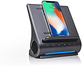 Azpen Dockall D108 Wireless Charging Dock w/Bluetooth Speakers. Qi-Certified Wireless for 7.5W Charging with iPhone Xs Max/XR/XS/S/ 8/ 8Plus/ 10W for Galaxy S10/ S9/ S9 / S8/ Note 9 -Gray (Renewed)
