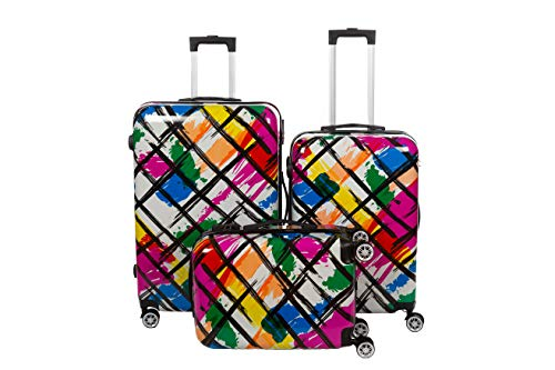 Birendy Reisekoffer Polycarbonat Hartschalen Hardcase Trolley mit Zahlenschloss Koffer Kofferset 4 Rollen einfacher Transport (99-Schwarz Bunt, Set L+XL+XXL)