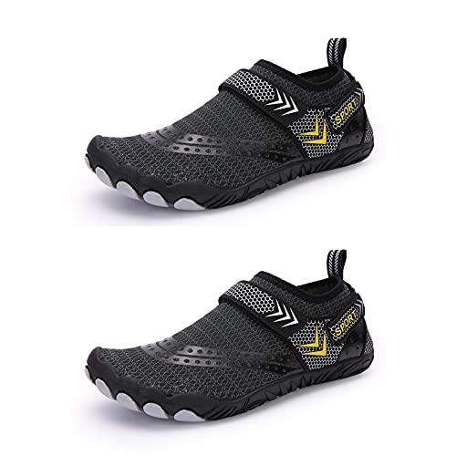 Calzado de agua descalzo para mujer y hombre al aire libre, secado rápido, correr, entrenamiento, surf, para deporte, playa, natación, surf, Black, 38 2/3 EU