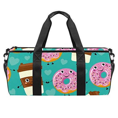 PLOKIJ Sporttasche für Herren/Damen, 45,7 cm, lustige Cartoon-Smiley-Donuts, Kaffeetasse