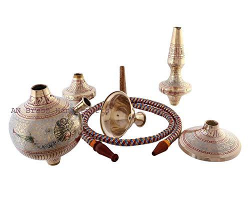 Bhuvika Handicrafts - Cachimba de latón real de Rajasthan (dorado_5 pulgadas x 15 pulgadas x 17 pulgadas)