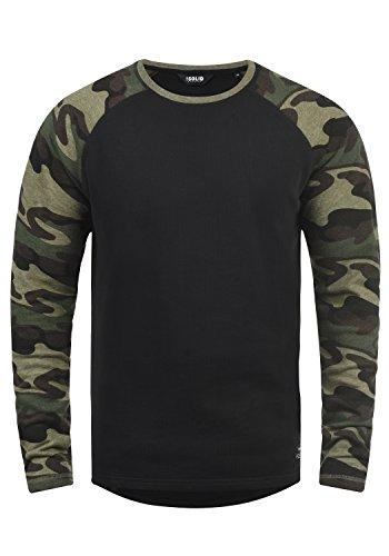 !Solid Cooper Herren Sweatshirt Pullover Pulli Baseball-Sweatshirt Mit Rundhals Und Camouflage-Ärmeln Aus 100% Baumwolle, Größe:XL, Farbe:Black (9000)