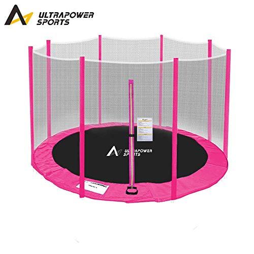 ULTRAPOWER SPORTS Sicherheitsnetz Ersatznetz für Trampolin Ø 244 cm, Gartentrampolin Ersatznetz für 6 Stangen, Netz außenliegend, Ersatzteil reißfest, UV-beständig - Pink