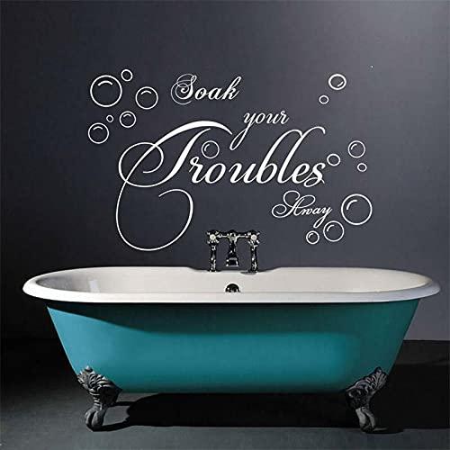 Rgzqrq Empapa Mucho Tus Problemas, elimínalos, Adhesivos de Pared, Ducha de baño, Limpieza con Espuma, Problemas de remojo, vinilos Adhesivos de Pared, decoración de baños 85x54cm