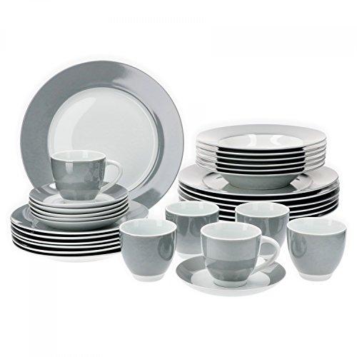 Van Well Vario hochwertiges Porzellan Geschirrset für 6 Personen für Gastro Hotel Privat I zweifarbiges Speiseservice-Tafel-Set Spülmaschinensicher I Kombi-Service 30-teilig Weiss grau