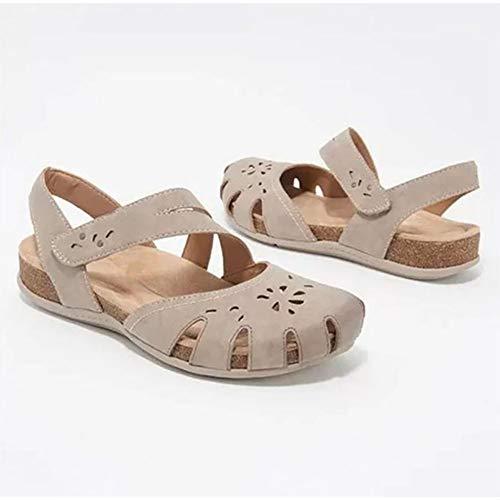 XXZ Sandalias de Cuña para Mujer Verano 2020 Sandalias de Punta Descubierta Zapatillas de Plataformas Cuero Cómodo Zapato de Playa Moda Mules,Beige,43