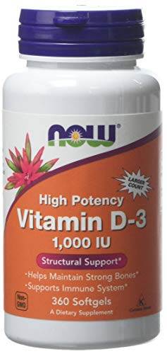 Now Foods Vitamin D3 1000IU Standard Capsules, 360-Count